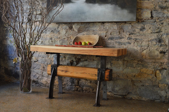 Industrial Farmhouse Butcher Block Post and Beam Island Table