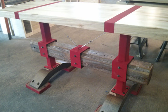 Industrial Farmhouse Modern Butcher Block Post and Beam Island Table