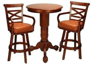 Berner Billiards Pedestal Pub Table Set in Honey