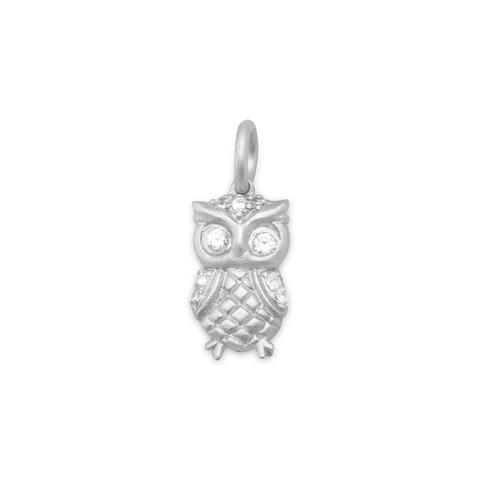 Rhodium Plated Satin Finish Owl Charm