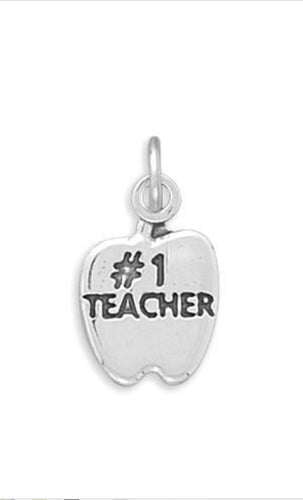 #1 TEACHER in Apple Charm