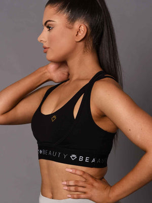 2 Tone Crop Top Black and Black