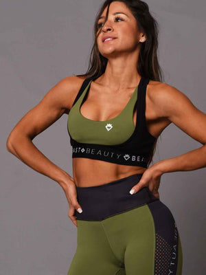 2 Tone Crop Top Green and Black