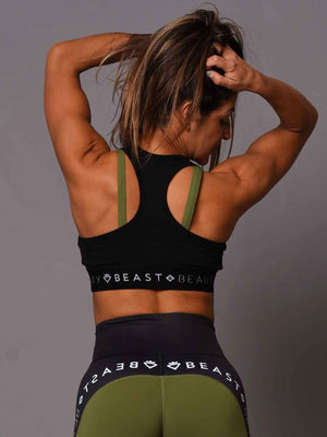 2 Tone Sports Bra Green and Black
