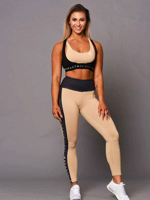 Sports Bra 2 Tone  Beige and Black