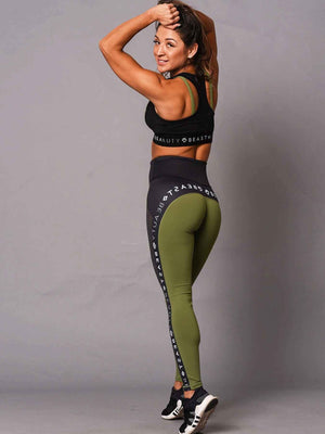 Running Logo Legging  Green & Black