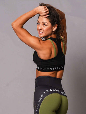Sports Bra 2 Tone Green and Black