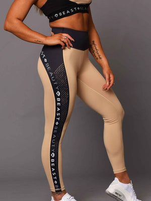 Running Logo Leggings  Beige & Black