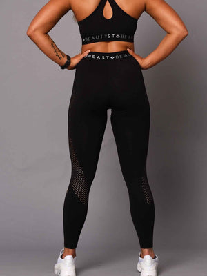 Women's V Waist Laser Cut Leggings - Black