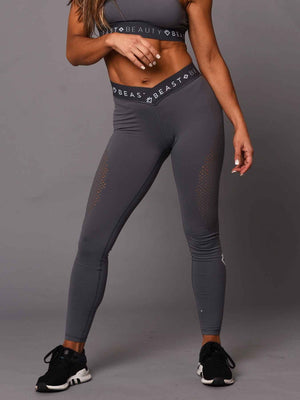 Women's  V Waist Laser Cut Leggings - Grey