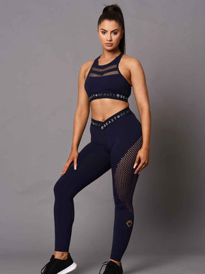 Women's  V Waist Laser Cut Leggings - Midnight Blue
