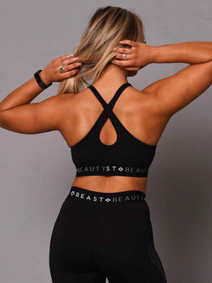 V Mesh Crop Top - Black