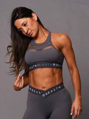V Mesh Crop Top - Grey