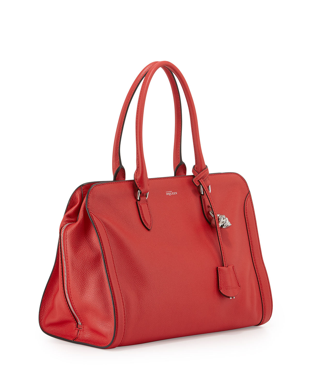 Bag McqueenRed Leather The Padlock Satchel Velvet Alexander Inc shdCtrQx