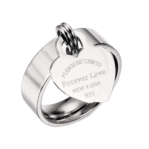 Designer Inspired Silver Titanium Steel Forever Love Heart Tag Ring (10)