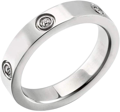 Designer Inspired Silver Titanium Steel Love Ring with Swarovski Crystals (7)