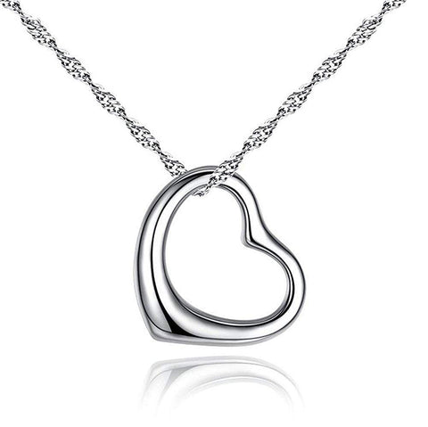 Open Heart Pendant Necklace Sterling Silver 925 18 inch chain