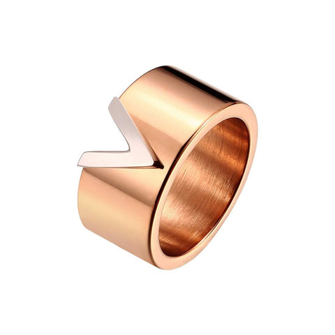 Designer Inspired Titanium Steel V Style Love Ring (Rose Gold, 7)