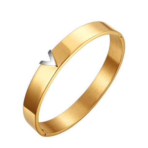 Designer Inspired Gold Titanium Steel V Shape Love Bracelet