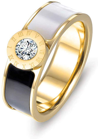 Designer Inspired Gold Titanium Roman Numerals Love Ring with Enamel and Austrian Crystals (7)