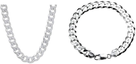 "Designer Inspired 8mm Thick Curb Chain Bracelet and 18"" Necklace Set Sterling 925 Stamped"