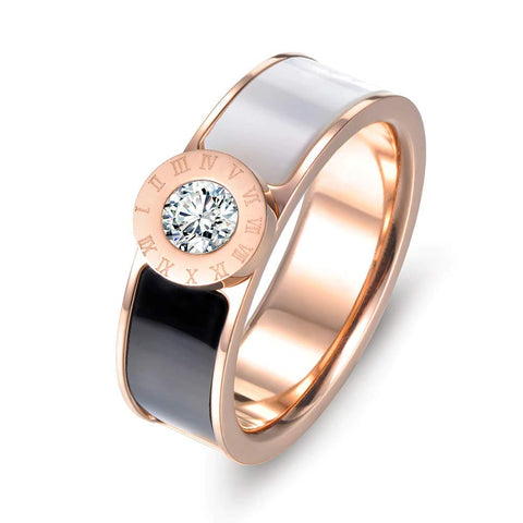 Designer Inspired Rose Gold Titanium Roman Numerals Love Ring with Enamel and Austrian Crystals
