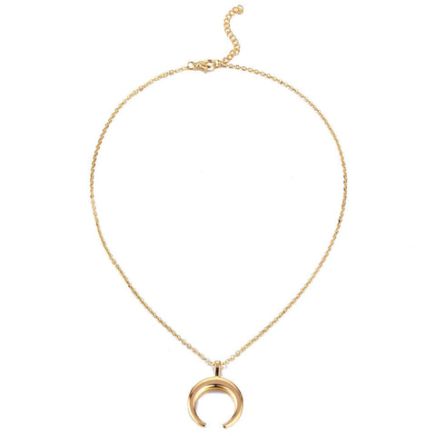 "Designer Inspired Moon Crescent Minimalist Choker Necklace Pendant 18"" Chain"
