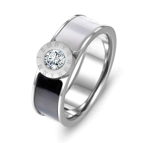 Designer Inspired Silver Titanium Roman Numerals Love Ring with Enamel and Austrian Crystals