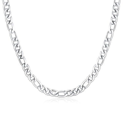 Designer Inspired 8mm Thick Silver Figaro Chain Necklace Sterling 925 20""