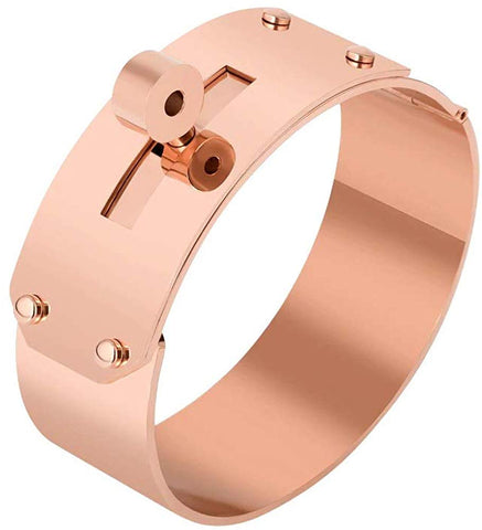 Designer Inspired Titanium Steel Wide Cuff Sliding Shackle Bracelet Bangle Unisex (Rose Gold 21mm)