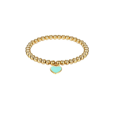 Designer Inspired Titanium Steel Heart Charm Bead Bracelet 6mm (Gold - Blue)