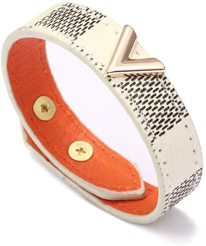 Designer Inspired V Shape Checkered Leather Wrap Bracelet 23cm