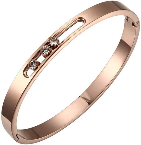 Designer Inspired Titanium Steel Luxury Love Bracelet with Sliding Swarovski Crystals (Rose Gold)