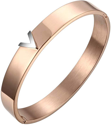 Designer Inspired Rose Gold Titanium Steel V Shape Love Bracelet