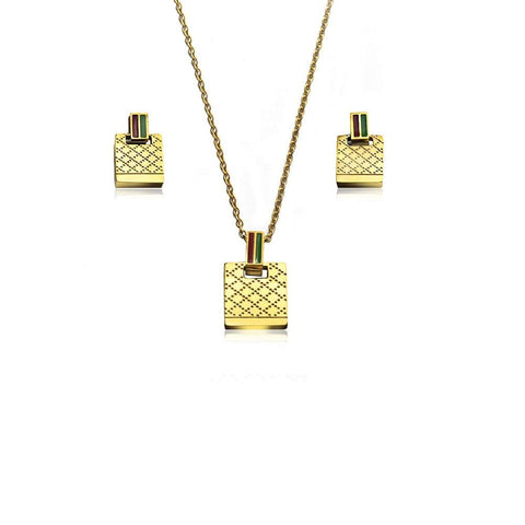 Designer Inspired Dotted Stripe Monogram Style Necklace Pendant with Matching Earrings