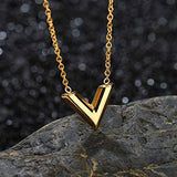 Designer Inspired Titanium Steel V Shape Love Charm Necklace 17.5 inch 45 cm (Gold)