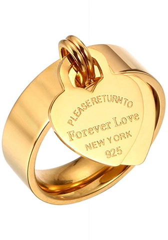 Designer Inspired Gold Titanium Steel Forever Love Heart Tag Ring (10)