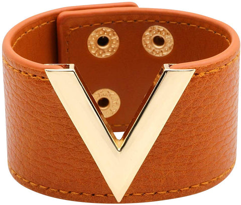 Wide Cuff Leather Wrap Bracelet V Shape 21cm 8 inch Length