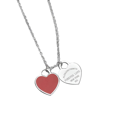 Silver Titanium Steel Forever Love Double Heart Pendant Necklace (Red Enamel)