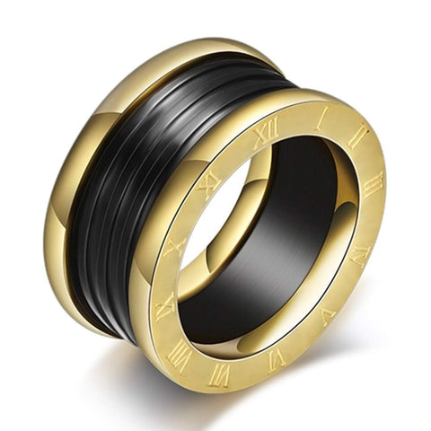 Designer Inspired Gold Roman Numeral Black Titanium Steel Stackable Statement Ring