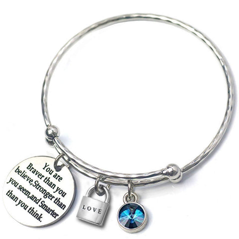 Birthstone Adjustable Wire Swarovski Charm Bracelet Bangle - Brave (December - Blue Zircon)
