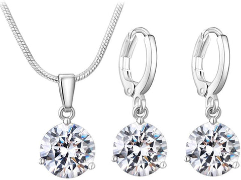 Designer Inspired Luxury Round Birthstone Swarovski Crystal Elements Necklace and Earrings Set