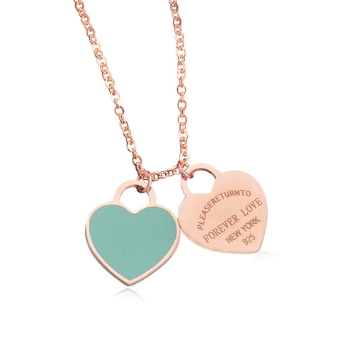 Designer Inspired Rose Gold Titanium Steel Forever Love Double Heart Pendant Necklace (Blue Enamel)