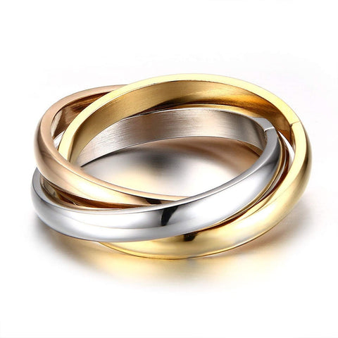 Designer Inspired Titanium Steel Interlocked Trinity Statement Love Ring (9)