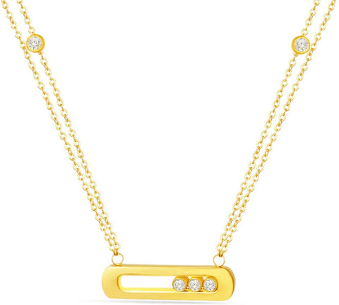 Designer Inspired Titanium Steel Love Pendant Necklace with Sliding Swarovski Crystals Bar 18 Inch (Gold)