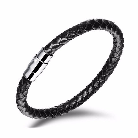 Designer Inspired Black Braided Weave Leather Bracelet with Steel Clasp