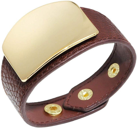 Designer Inspired Wide Gold Cuff Leather Wrap Bracelet Unisex 21cm 8 inch Length (Dark Brown)