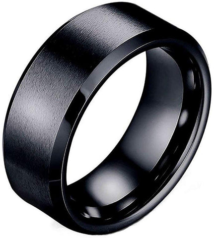 Designer Inspired Black Brushed Titanium Steel Band Tungsten Ring 8mm Men Unisex