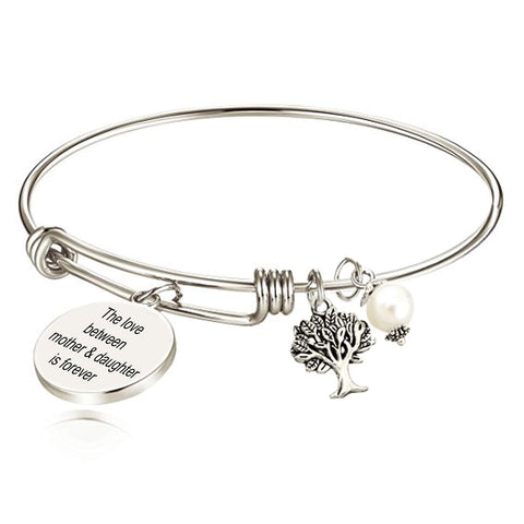 Designer Inspired Mother Daughter Adjustable Wire Pearl Charm Bracelet Bangle with Gift Box