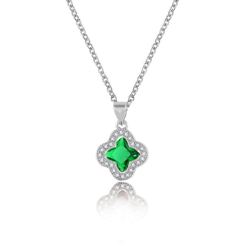 "Designer Inspired Four Leaf Clover Swarovski Crystal Pendant Necklace 18"" Inch"